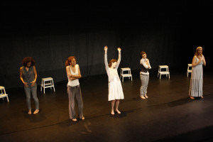NYC debut. Cast L-R: Patrice Goodman, Sarah Michelle Brown, Victoria Murdoch, Nicole Maroon, Allana Harkin.  Photographer: Nicholas Santasier